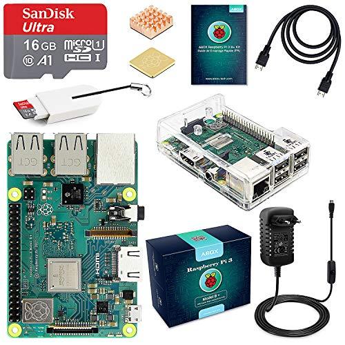 ABOX Raspberry Pi 3 B+ Starter Kit 16 Go SanDisk Micro SD Carte Classe 10, 5V 3A Alimentation Interrupteur Marche/Arrêt et Boîtier Transparent (2018 Version Améliorée)