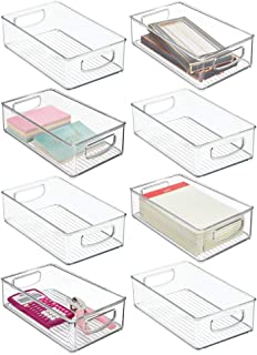"mDesign Stackable Plastic Home Office Storage Organizer Container with Handles for Cabinets, Drawers, Desks, Workspace - BPA Free - for Pens, Pencils, Highlighters, Notebooks - 6"" Wide, 8 Pack - Clear photo"
