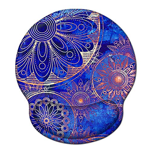 Ergonomic Mouse Pad Wrist Rest Support, ToLuLu Gel Mouse Pads with Non Slip Rubber Base Memory Foam Mousepad, Mouse Wrist Rest Pad for Laptop Computer Home Office Working Pain Relief, Blue Mandala