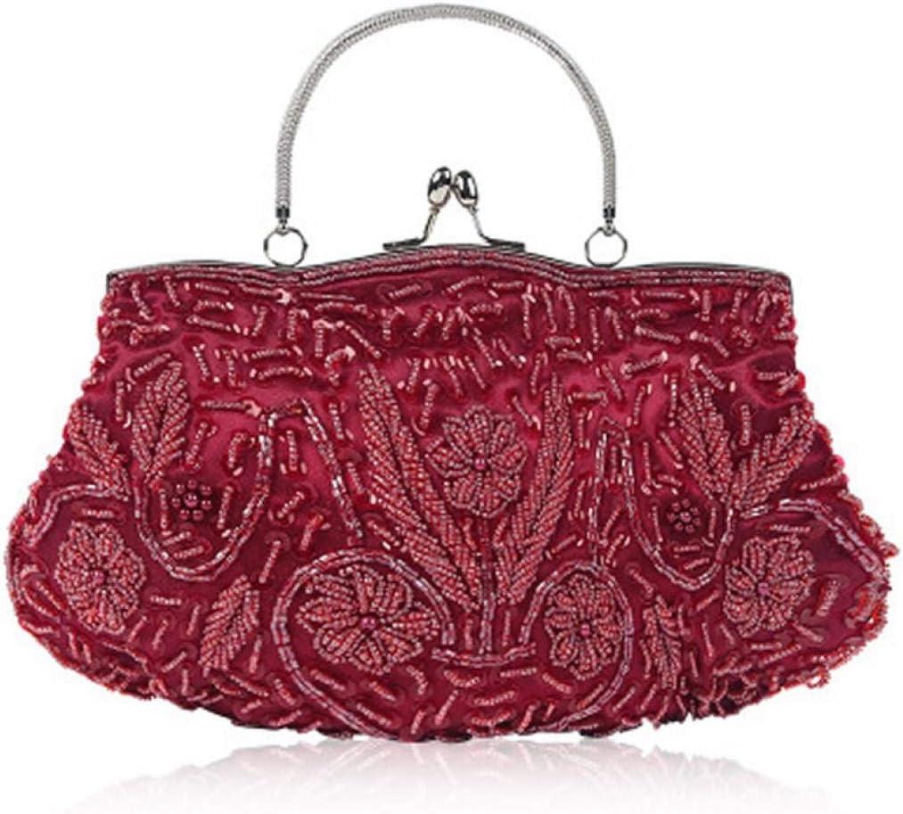 jessie Women's Evening Bag Party Wedding Bag Vintage Beaded Clutch Bag for Women Cocktail Party Handbags (Burgundy mechanical plate)