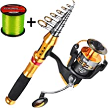 C0mdaba Fishing Rod and Reel Combos Full Kit Telescopic Fishing Pole with Spinning Reels Fishing Carrier Bag for Travel Saltwater Freshwater Fishing Gear Set