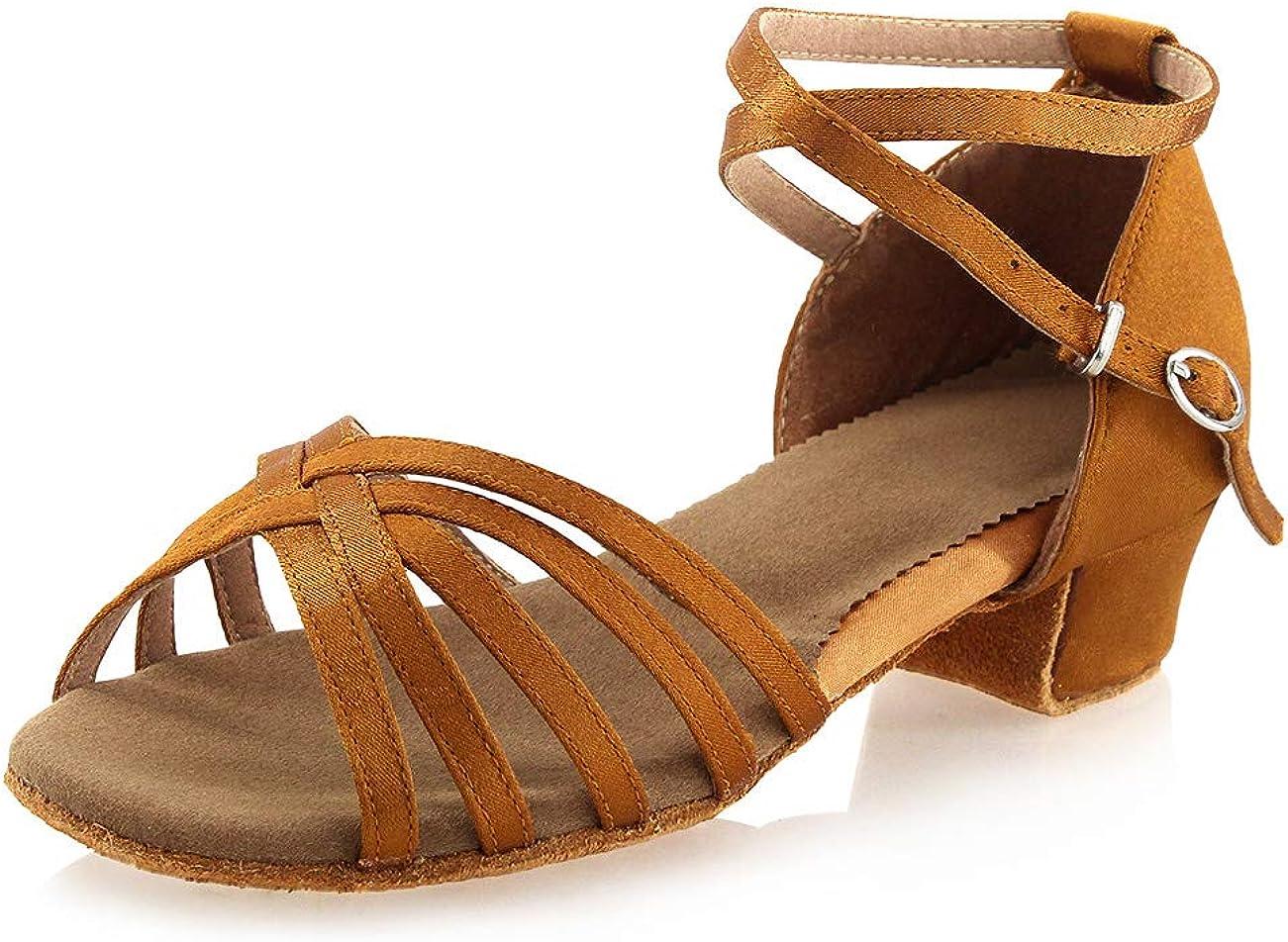 Daydance Tan Girls Latin Dance Shoes Women Low Heels Tango Salsa Ballroom Shoes