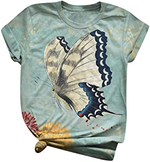 T Shirt Butterfly Colorful Painting Pullover