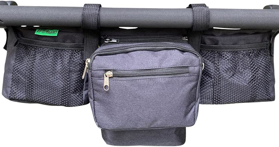 Double Stroller Organizer for Bob Duallie and Baby Jogger City Mini GT With Purse