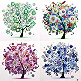 5D DIY Diamond Painting Sets Different Shape Diamond Drawing Tree Cross Stitch Point Drill Painting Living Room Bedroom Wall Decorative Drawing (Four Seasons)