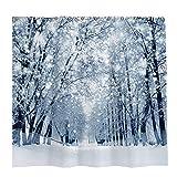 Allenjoy 72x72 inch Winter Forest Shower Curtain Set with 12 Hooks Beautiful Nature Snowy Wonderland Scenery Landscape Bathroom Curtain Durable Waterproof Fabric Bathtub Sets Home Decor
