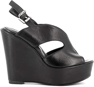 Pierfrancesco Vincenti Sandali in Pelle con Zeppa Alta - Scarpe Donna Made in Italy Colore Nero