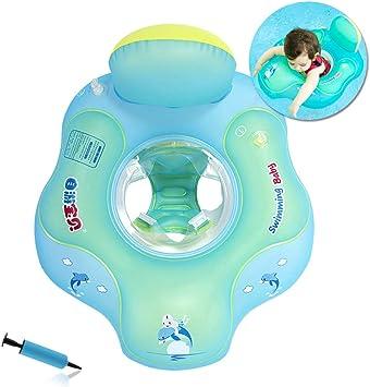 Flotador de Natación para Bebés con Asiento Anillo,Bebé Recién Nacido Aprende a Nadar Entrenador Inflable Flotador Ajustable para Piscinas para ...
