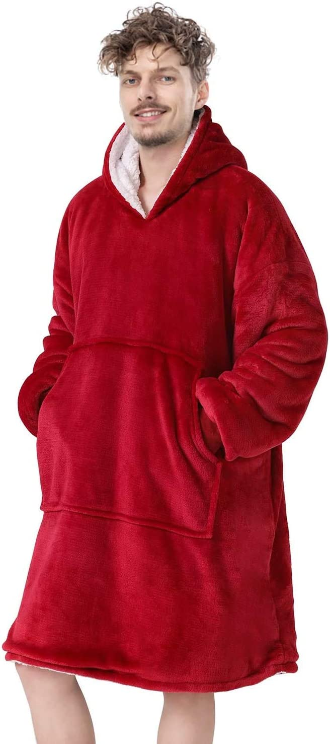 Red One Size Fits All Men Wearable Blanket Oversized Hoodie Blanket with Hood Pocket and Sleeves Super Soft /& Warm Blanket Sweatshirt for Women Adults and Kids