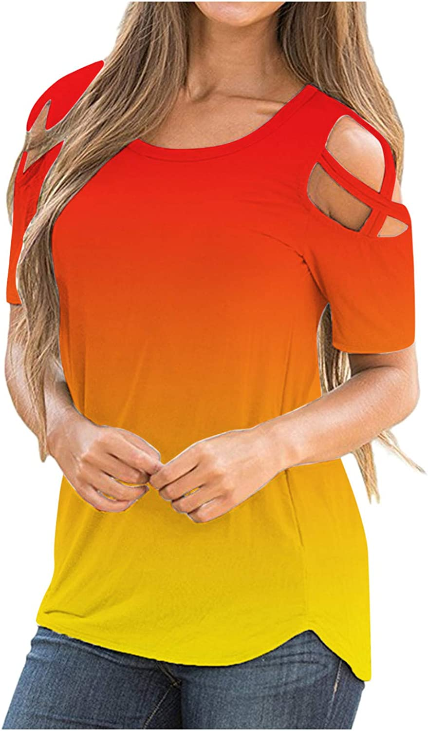 Aniwood Tie Dye Shirt Womens,Womens Cold Shoulder Tops for Women Plus Size Short Sleeve Tops Casual Summer T Shirts Tunic