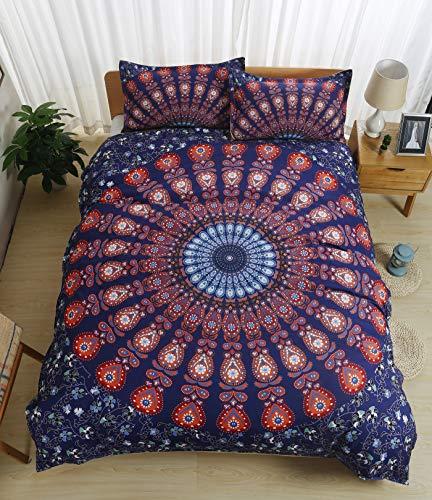 Juego de cama de 3 piezas, diseño exótico bohemio, con cremallera, microfibra, funda de edredón y fundas de almohada, juego de cama bohemio (11, 200 x 200 cm)