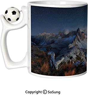 Night Sports Football Mug,Dolomites Italy Alps Mountain Landscape with Starry Night Sky Milky Way Decorative Ceramic Coffee Cup,Dark Blue Redwood Tan,Great Novelty Gift for Kids & Audlt