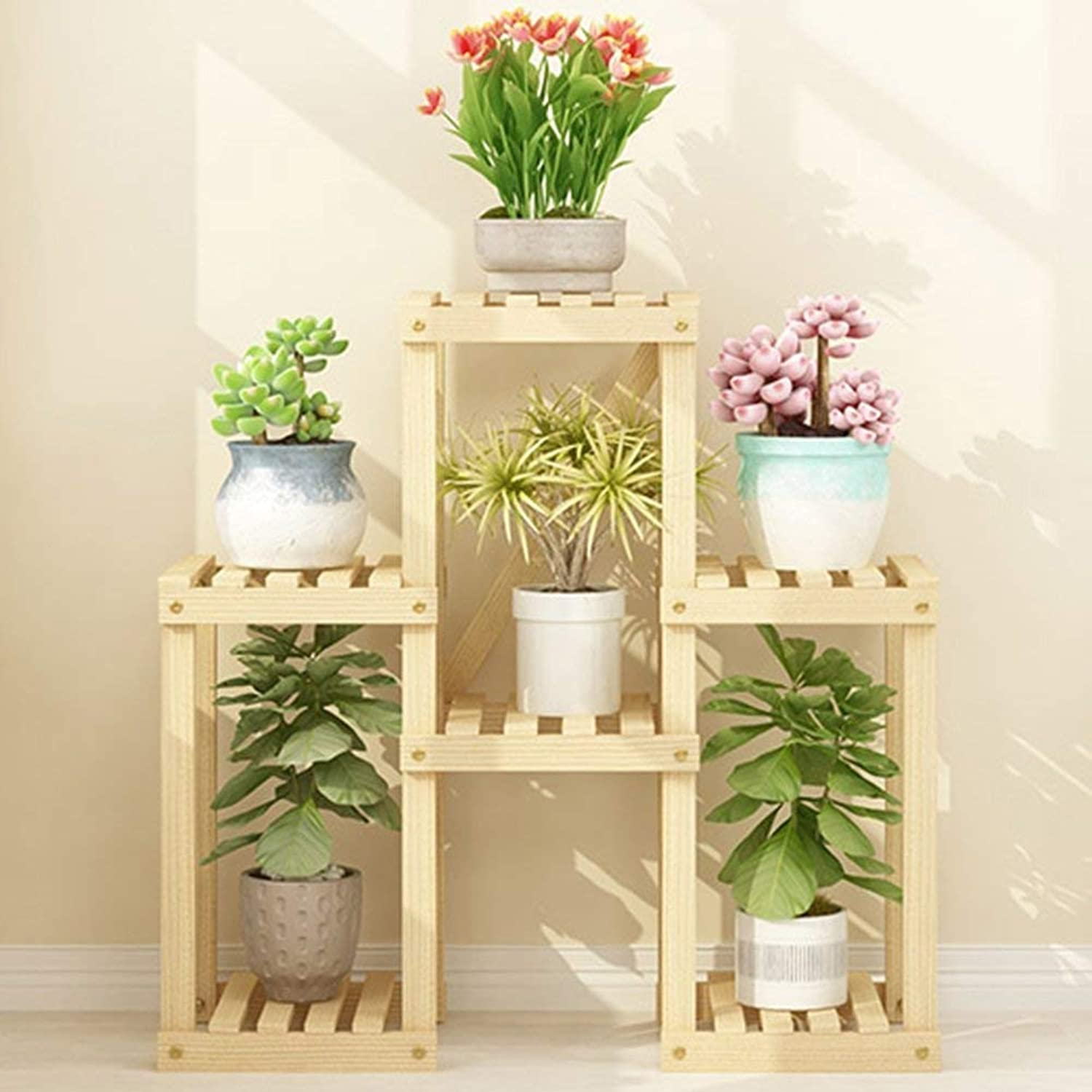 Shelves Organizer for Books Bookcase Bookshelf Ends Flower Stand Floor-Standing Wooden Multi-Layer Space Saving Plant Stand Indoor and Outdoor Shelf Balcony Living Room Patio Pot Rack Strong Sturdy,