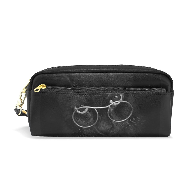 AOMOKI ペンケース 化粧ポーチ 多機能バッグ レディース 可愛い猫 眼鏡