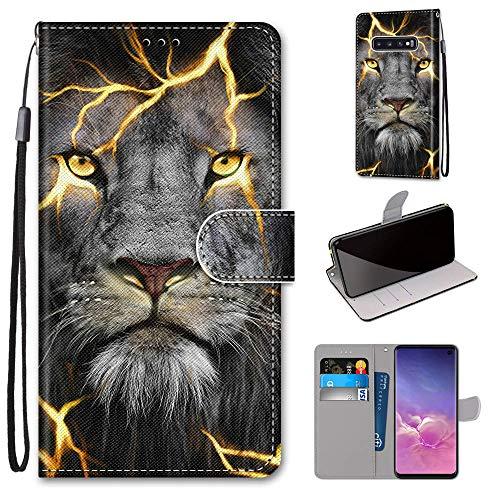 Miagon Flip PU Leder Schutzhülle für Samsung Galaxy S10e,Bunt Muster Hülle Brieftasche Case Cover Ständer mit Kartenfächer Trageschlaufe,Wütend Löwe
