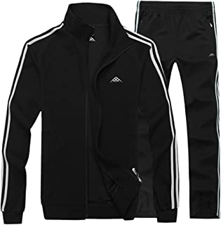 Real Spark Men's Athletic Full-Zip Jogger Sweat Suit Sports Sets Casual Tracksuit