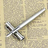 Pluma Estilográfica,Hemore 1 Pcs Pluma de Metal Boligrafo Lápiz elegante 13.3 cm,Buen Regalo para Niños y Adultos,color plata
