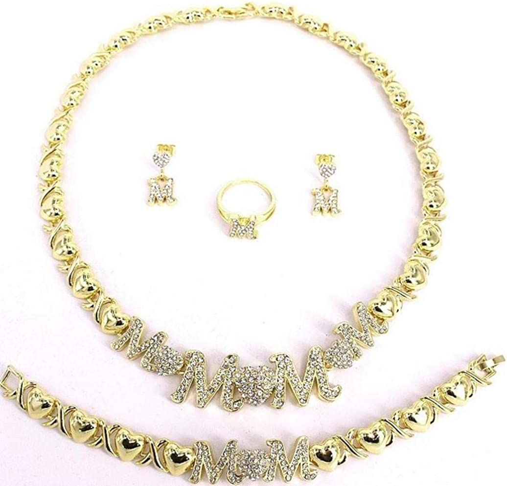 Women's Girl's Hugs & Kisses XOXO 4 Pieces Necklace Set Mom Pedant Necklace Includes Bracelet Ring Earrings Layered Real Gold Plated #88
