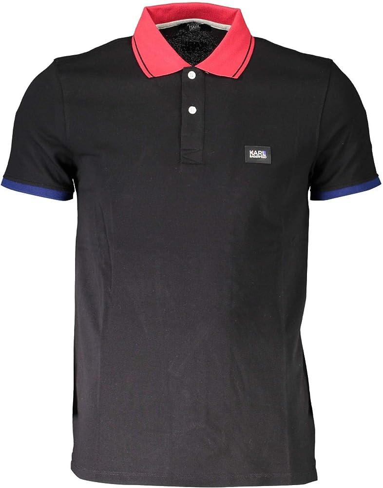 Karl lagerfeld polo basic,maglietta da uomo,95% cotone,5% elastan KL20MPL01-NERO-C25812
