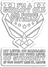 Hand Wooden Customizable Sticker A Grumpy Old Air Force Veteran for Men Or Women Stickers Personalize (3 pcs/Pack)