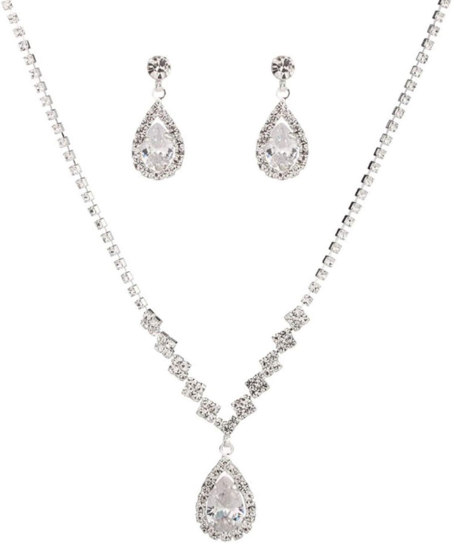 Bridal Jewelry Set for Wedding,Elegant Lady Teardrop Rhinestone Dangle Chain Necklace Hook Earrings Jewelry Set