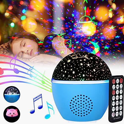 Proyector Estrellas GolWof Luz Nocturna Giratoria Lámpara de Proyector Infantil Estrellas & Océano con 16 Colores, 8 luminación, 5 Velocidad de Rotación, Temporizador para Cumpleaños Fiesta Navidad