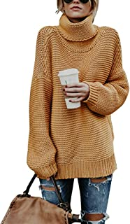 Annystore Women Turtleneck Sweater - Long Sleeve Casual Baggy Chunky Knit Pullover Sweater Tops