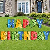 Happy Birthday Letters Yard Card, 20 Inch Letters Set of 13 with Stakes