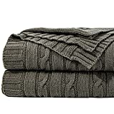 NTBAY 100% Cotton Cable Knit Throw Blanket Super Soft Warm Multi Color(51'x 67', Grey)