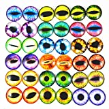 JJG 20PCS(10Pairs) 30mm Mixed Style Dragon Eyes Doll Eyes Half Round Glass Dome Cabochons for Doll Puppet or DIY Jewelry Making