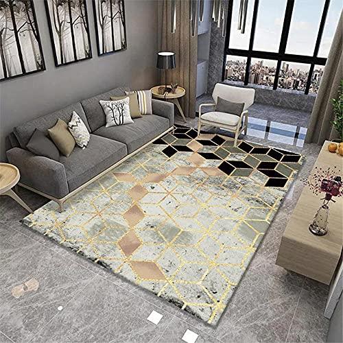 La Alfombra Alfombra habitacion Juvenil Diseño de patrón geométrico del rombo Manchado del Oro Verde Negro alfombras Decoraciones para Habitaciones alfombras habitacion Infantil 160*230cm