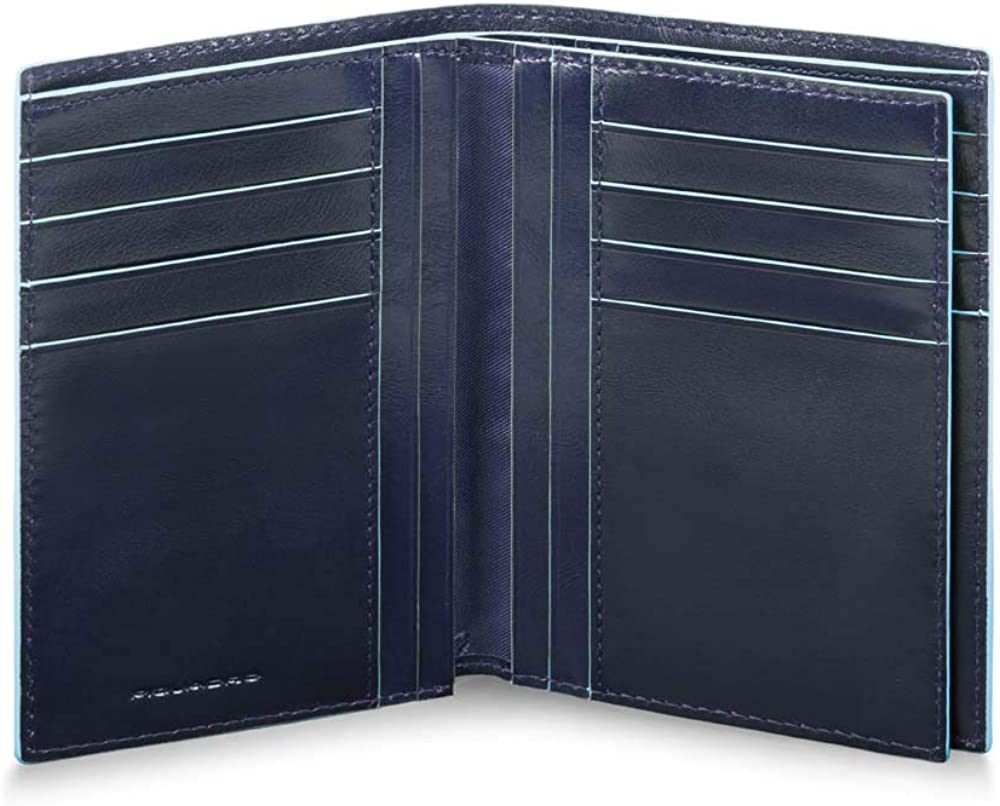 Piquadro, portafoglio per uomo, verticale, in vera pelle, blu PU4520B2R