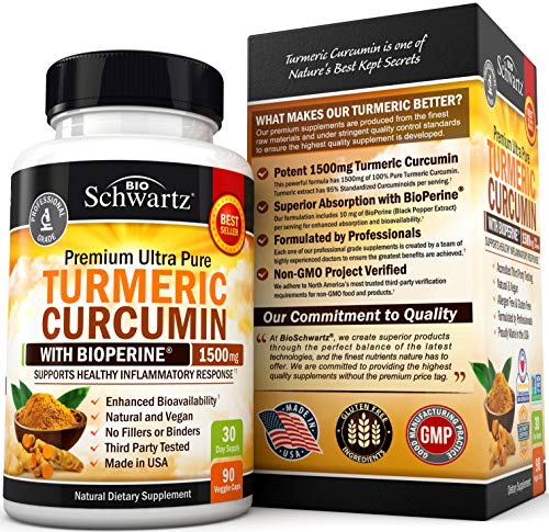 Turmeric Curcumin with BioPerine 1500mg - Natural Joint & Healthy Inflammatory Support with 95% Standardized Curcuminoids for Absorption & Potency - Non-GMO, Gluten Free Capsules with Black Pepper