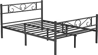 VASAGLE Lit Double, Cadre de lit en métal, pour Matelas de 140 x 190 cm, pour Adultes, Adolescents, Pas Besoin de sommier,...