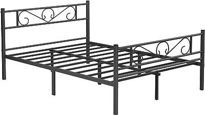 VASAGLE Lit Double, Cadre de lit en métal, pour Matelas de 140 x 190 cm, pour Adultes, Adolescents, Pas Besoin de sommier, Assemblage Simple, pour Petits espaces, Noir RMB063B01