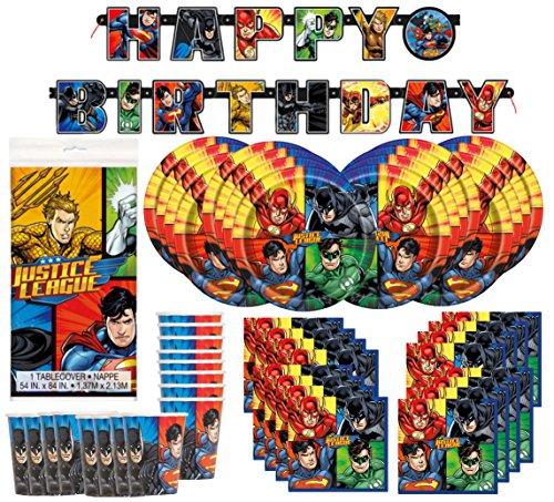 Paquete de suministros de fiesta de cumpleaños de DC Comics de la Liga de la Justicia de Superheros para 16 unidades; platos, tazas, servilletas, pancarta y cubierta de mesa