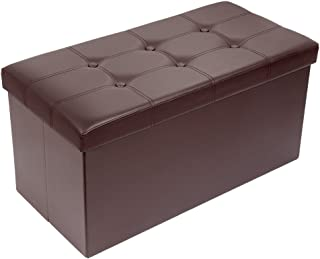 Meerveil Pouf Coffre Rangement, Banquette Coffre Rangement en Cuir, Confortable Cube Rangement, Coffre à Jouet avec Boucl...