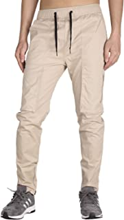 Men's Casual Chino Cargo Pants with Zipper Pockets Zipper Ankles