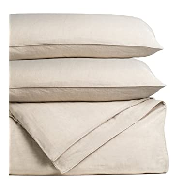 Cariloha Bamboo Linen Duvet Cover Set Includes Duvet Cover and 2 Pillow Shams - 3 Degrees Cooler Than Cotton - Soft and Smooth Bamboo-Linen Weave (Queen, Oatmeal)