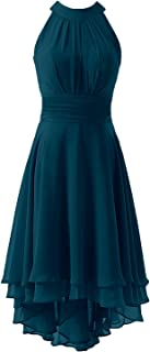 KevinsBridal Women's High Low Short Bridesmaid Dresses Chiffon Halter Prom Dress
