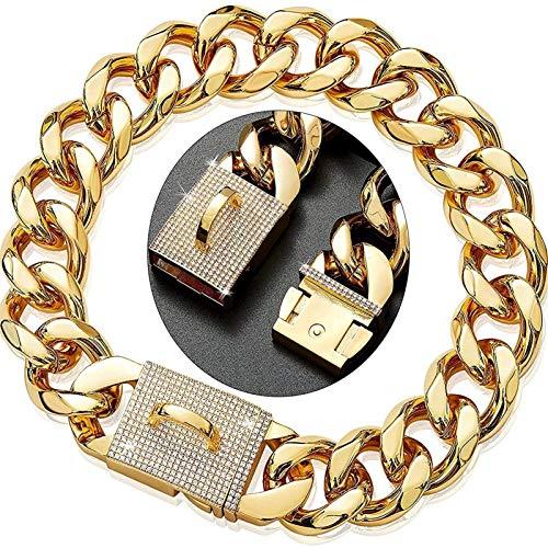Collar Perro de Acero Inoxidable 316L, Cadena Eslabones Metal Cubano Alta Resistencia con Hebilla de Diamante, Adecuado para Perros Pequeños, Medianos y Grandes ( Color : Gold , Size : 22inch/56cm )