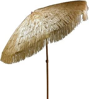 Bayside21 Tiki Umbrella Thatch Patio Umbrella Tropical Palapa Raffia Tiki Hut Hawaiian Hula Beach Umbrella (8' Tilt, Natural)
