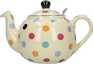 London Pottery Globe 6 Cup Multi-Colored Spots on Ivory Filter Teapot 17278416