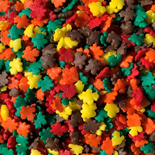 Fall Leaf Mix Sprinkles - 10 ounces assorted - Kosher Certified by Sugar Deco - Quins