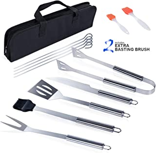 Masthome BBQ Grill Accessories 9 PCS Barbecue Tool Sets with Carry Case & 2 Basting Brush Stainless Steel Barbecue Grilling Utensils for Camping & Picnic