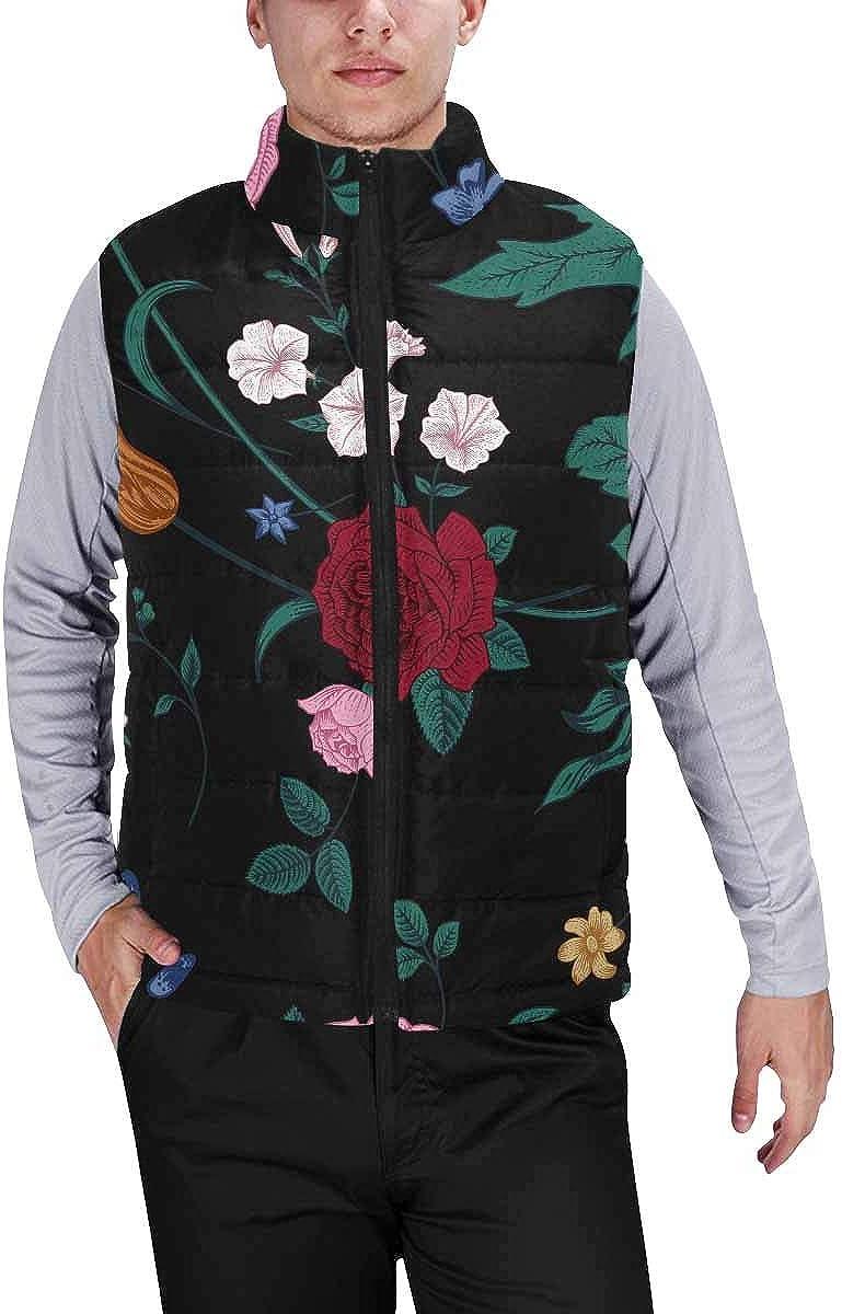 InterestPrint Men's Lightweight Vest Softshell for Camp Vintage Bouquet of Colorful Flowers
