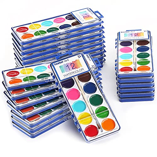 Keebor Basic 12-Color Watercolor Paint Set for Kids, Washable, 24 Packs with Wood Brushes for Party Favors,Classroom Supplies
