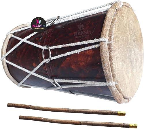 Naksh Toys Wooden Dholak for Kids Handmade Indian Dhol with Stick Musical Instrument Drum Original Dholak Medium Size