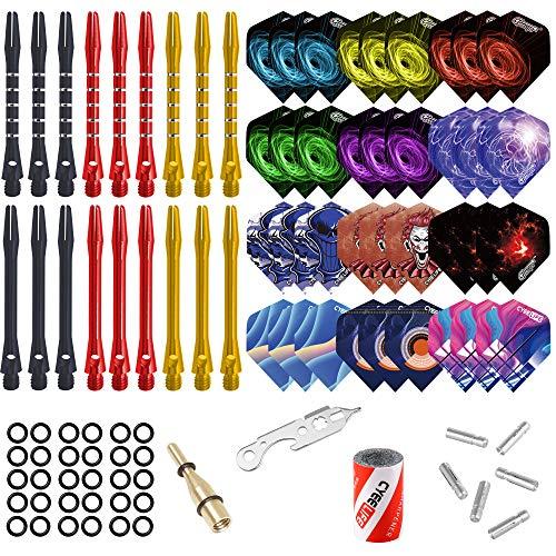 CyeeLife Darts Zubehör Set 36 Flights, 18 Alu Schäfte, 100 Gummiringe, 2 Dart Werkzeug, Sharpener, und 6 Alu Flightkappen