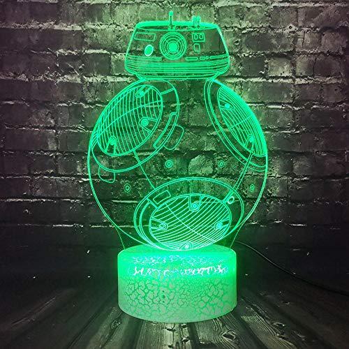 Lampe Illusion 3D Led Veilleuse Mode Acrylique Tar Wars Titanium Machine Bb8 Univers Jouet Chambre Décor Afe De Bébé Ampoule Cadeau